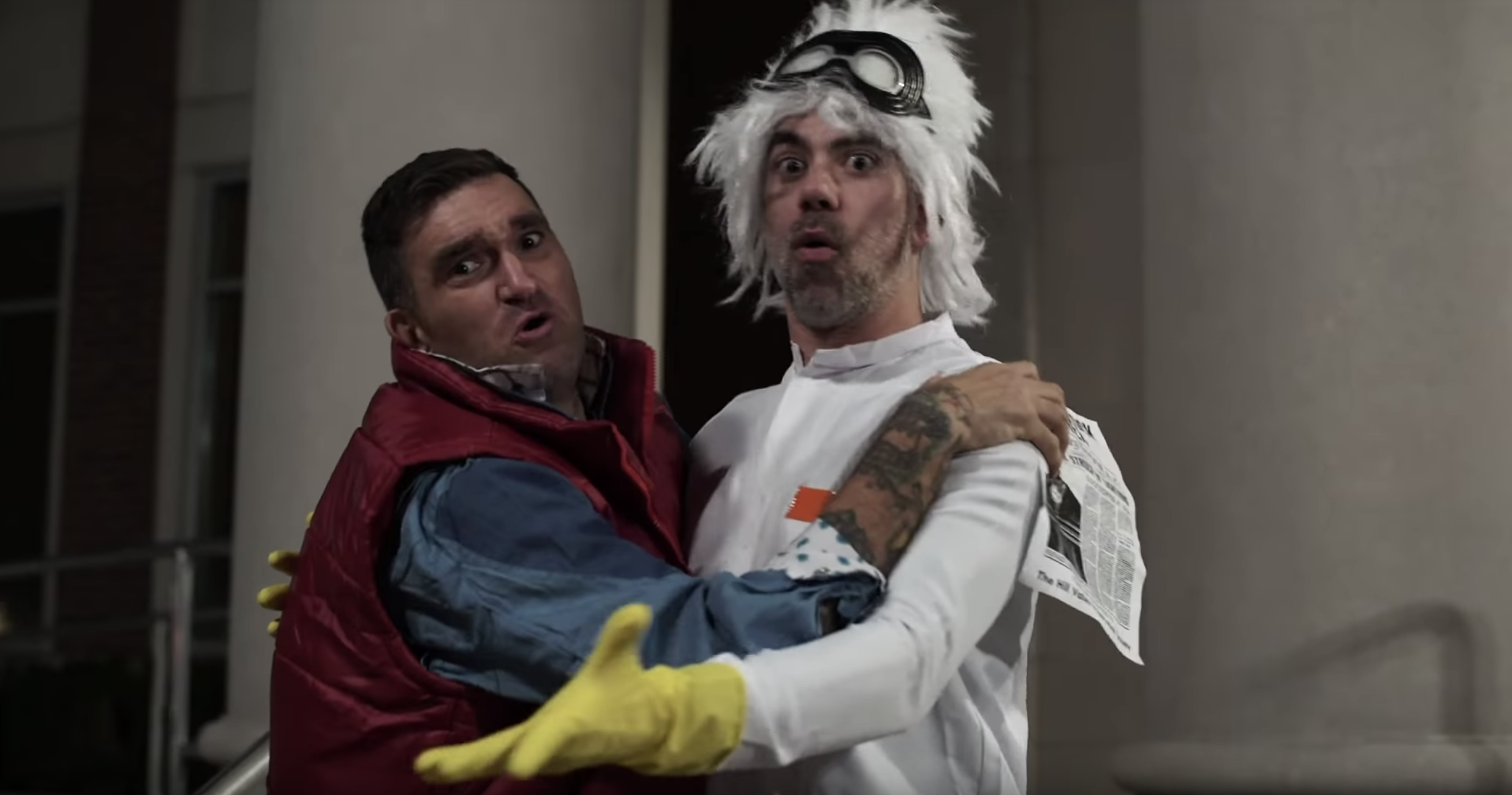 photo from New Found Glory music video with lead singer dressed as Marty McFly