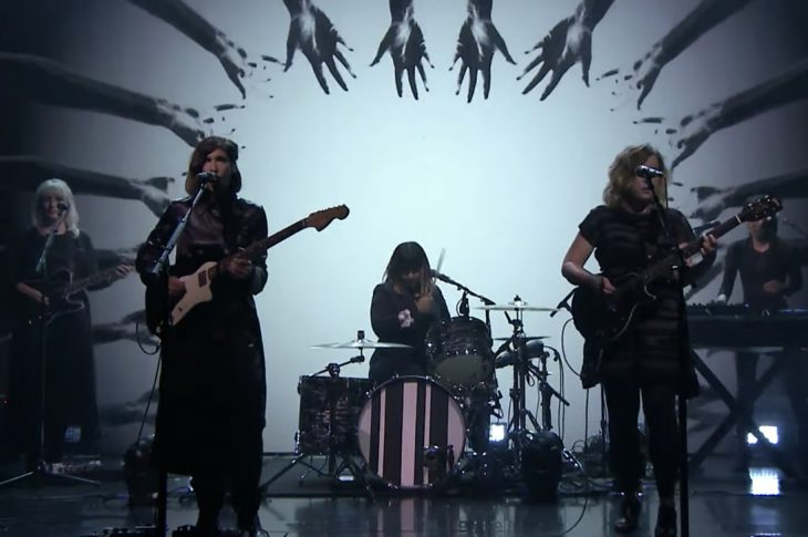 Sleater-Kinney performing on the Tonight Show with Jimmy Fallon