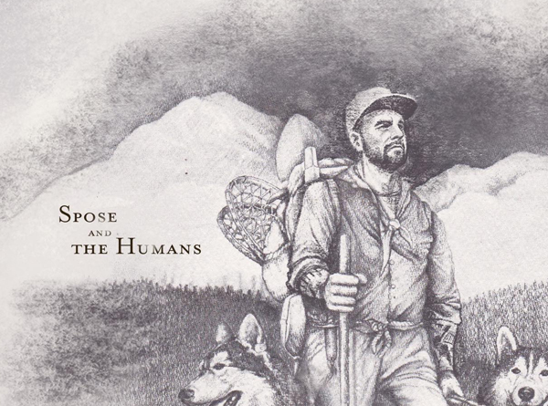 Spose Live in Denver artwork: Drawing of Spose hiking with dogs.