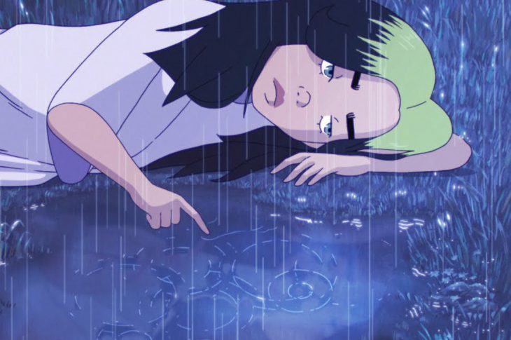 screen capture from Animated video for Billie Eilish's My Future - Cartoon version of Eilish looking into water