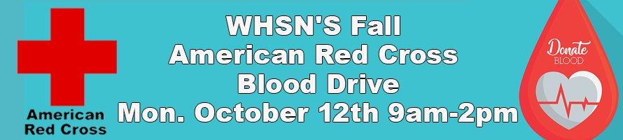 banner ad for WHSN's Fall American Red Cross Blood Drive October 12, 2020