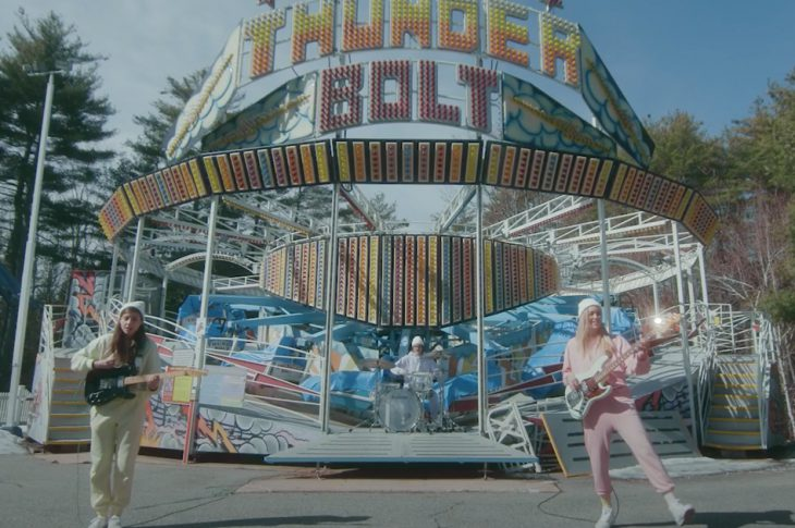 Weakened Friends performing in front of the Thunderbolt ride at Funtown Splashtown